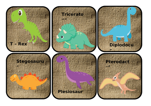 Dinosaur species scavenger hunt