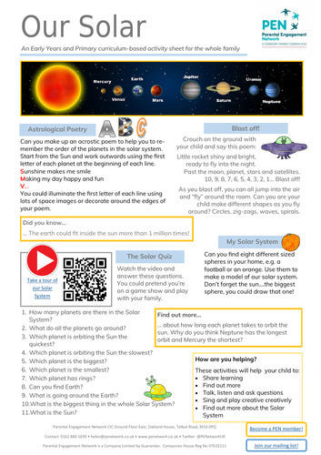 Our Solar System Primary Family Home Learning Sheet