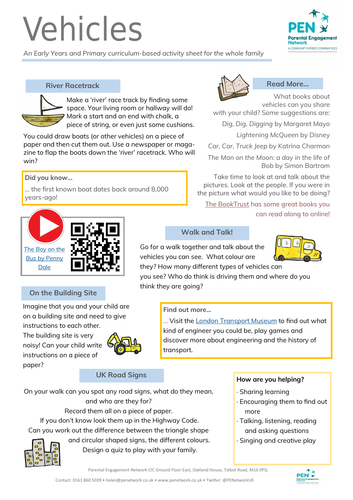 Vehicles Primary Family Home Learning Sheet
