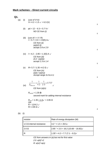 A level Physics - Electricity (Chapter 13) Direct current circuits - Assessment