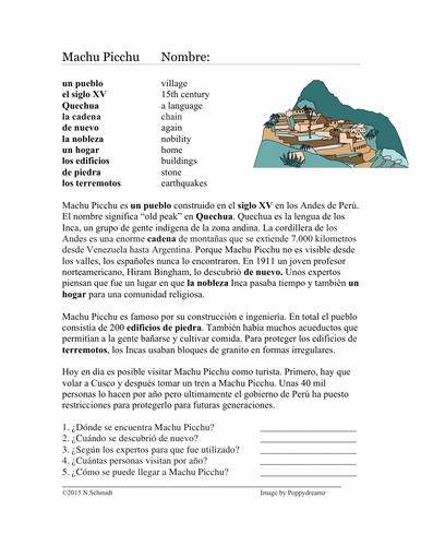 Machu Picchu Lectura y Cultura - Spanish Cultural Reading