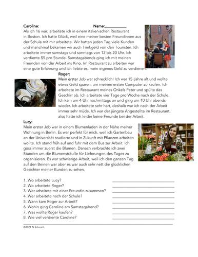 Mein Erster Job Lesung: German Past Tense Reading on First Jobs (Imperfekt)