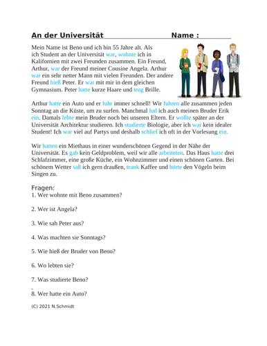 German Imperfect Reading: An der Universität Lesung (Imperfekt)