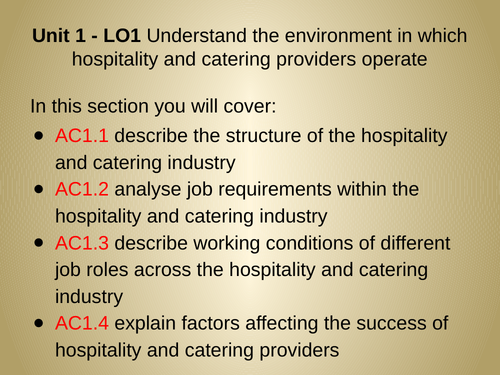 WJEC Hospitality and Catering Unit 1 - LO 1