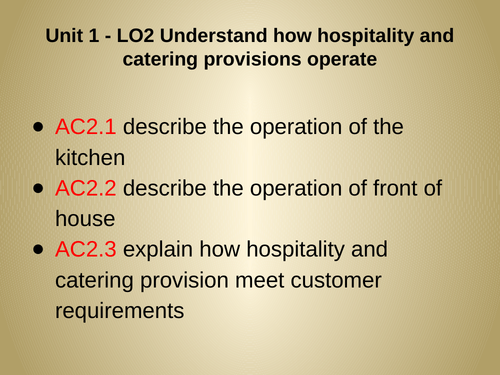 WJEC Hospitality and Catering - Unit 1 - LO2
