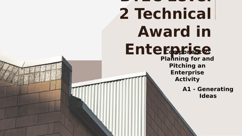 BTEC Level 2 Tech Award in Enterprise Component 2: Pitching an Enterprise A1 Idea Generation