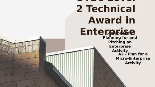 BTEC Level 2 Tech Award in Enterprise Component 2: Pitching an Enterprise A2 Planning an Enterprise