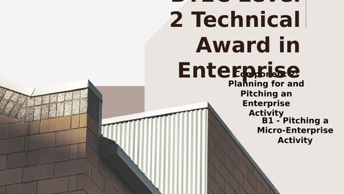 BTEC Level 2 Tech Award in Enterprise Component 2: Pitching an Enterprise B1 Pitching an Enterprise