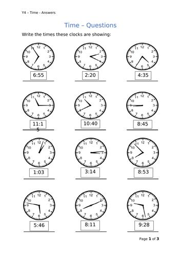 Y4 Maths - Time
