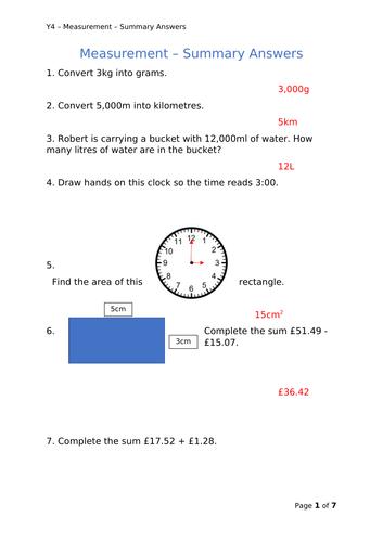 Y4 Maths - Measurement Summary Questions