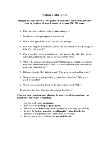 writing a film review a framework by nans teaching resources tes