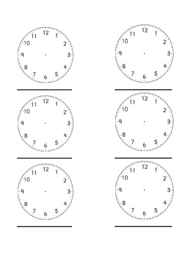 Worksheets Blank Clock Face Worksheet Printable blank clock faces by heather2209 teaching resources tes