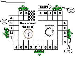 Race around the clock times tables