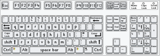 standard computer keyboard layout with lower case letters by