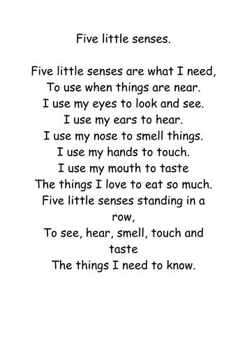 senses poem by nicol01 teaching resources tes
