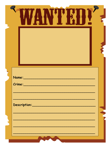 wanted poster template by shelly360 - Teaching Resources - TES