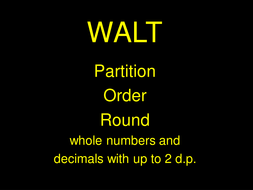 A3 Partitioning, ordering and rounding whole numbers and decimals to 2 places.