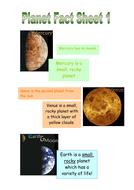 Planets, Non Fiction fact sheets