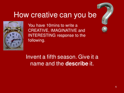 creative writing prompts powerpoint by biddickphil teaching
