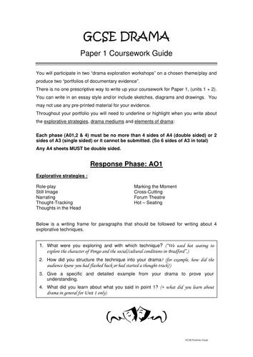 Drama coursework gcse help