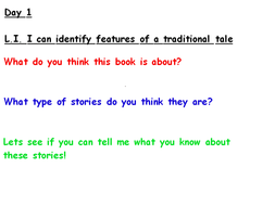 Traditional Tale planning week one and two