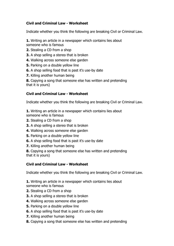 Printables Criminal Law Worksheets introduction to law criminal and civil y9 citizenship by worksheet doc