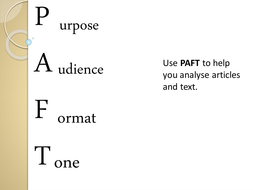 Purpose, Audience, Format, Tone (PAFT)