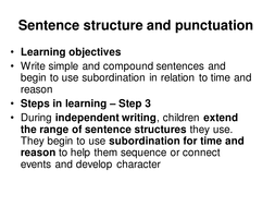 Simple and complex sentences - subordinating connectives