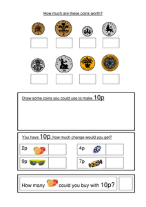money worksheets ks1 coin recognition change and problem solving by gemvictoria uk teaching. Black Bedroom Furniture Sets. Home Design Ideas