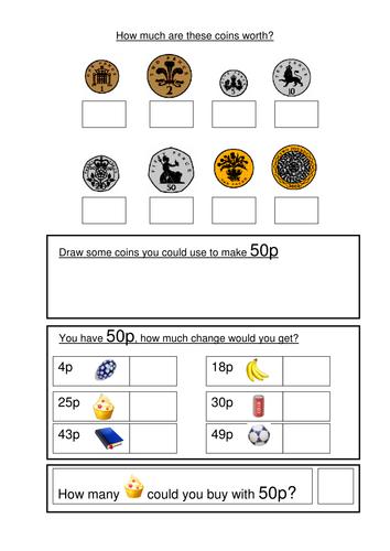 money worksheets ks1 coin recognition change and problem solving by gemvictoria teaching. Black Bedroom Furniture Sets. Home Design Ideas