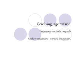 GCSE Language Revision: Jeopardy
