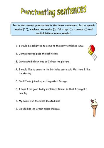 Halloween worksheets for  nd grade  Free end punctuation worksheet