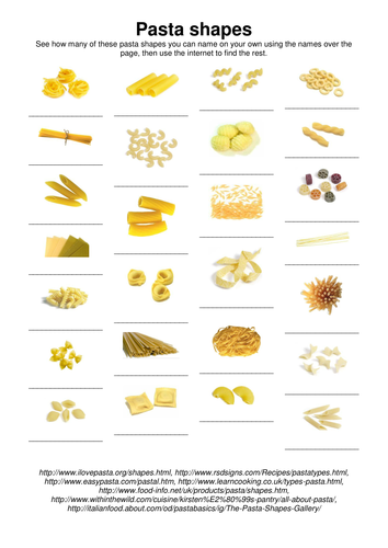 Pasta Shapes Worksheet By Anon1888 Teaching Resources Tes