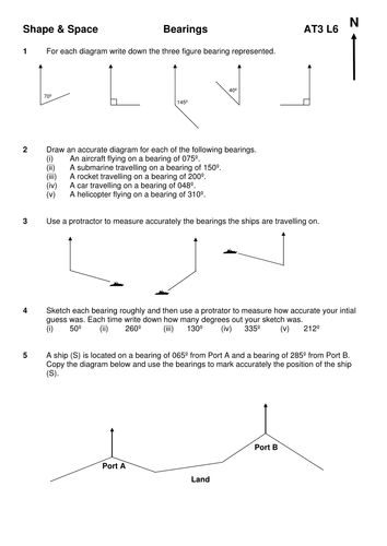bearing and trigonometry questions mep