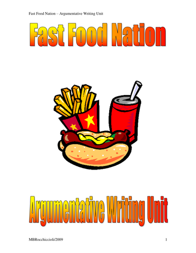 Argumentative essay on fast food