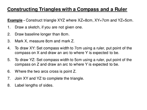 Constructing Triangles with a Compass KS3 by h4helen Teaching – Constructing Triangles Worksheet