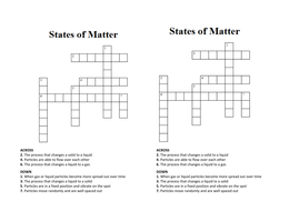 States of Matter Crossword/Wordsearch