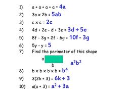Misconceptions in Algebra - Starter - KS3 KS4