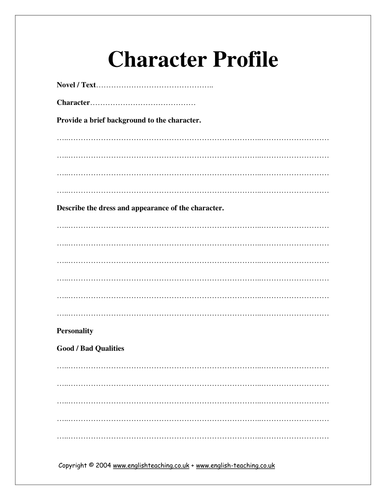 write character profile essay A character analysis essay involves a thorough research one of the aims would be to make a profile and you can write about how a character that should.