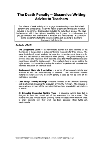 discursive writing the death penalty by tesenglish teaching discursive writing the death penalty by tesenglish teaching resources tes