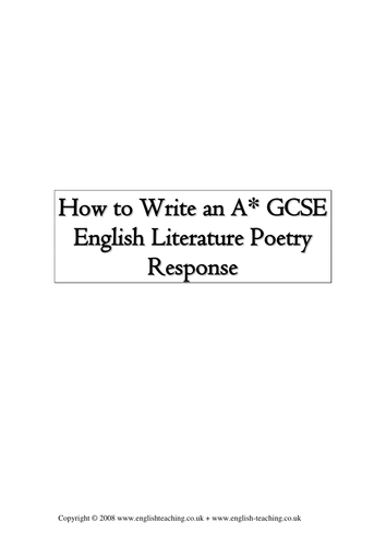 How to write a personal response to a poem?