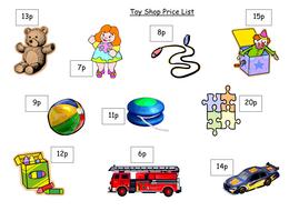 Toy shop price list