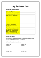 business plan template by flaink teaching resources tes