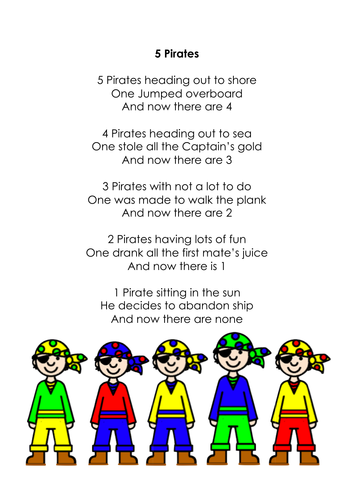 Image result for 5 little pirates