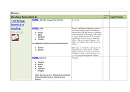 milestone 6 reading tracking sheet sen by mainbanana teaching