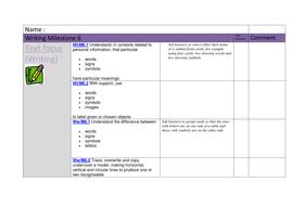 milestone 6 writing tracking sheet by mainbanana teaching