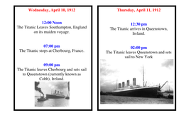 Timeline for Titanic.doc