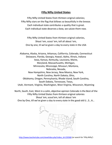 The 50 States Song In Alphabetical Order Lyrics - HAYVIP