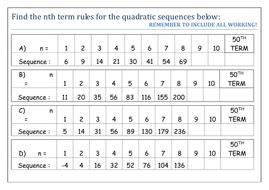Quadratic Sequences, worksheet