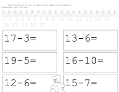 teddy take aways subtraction worksheets by stebba - Teaching ...